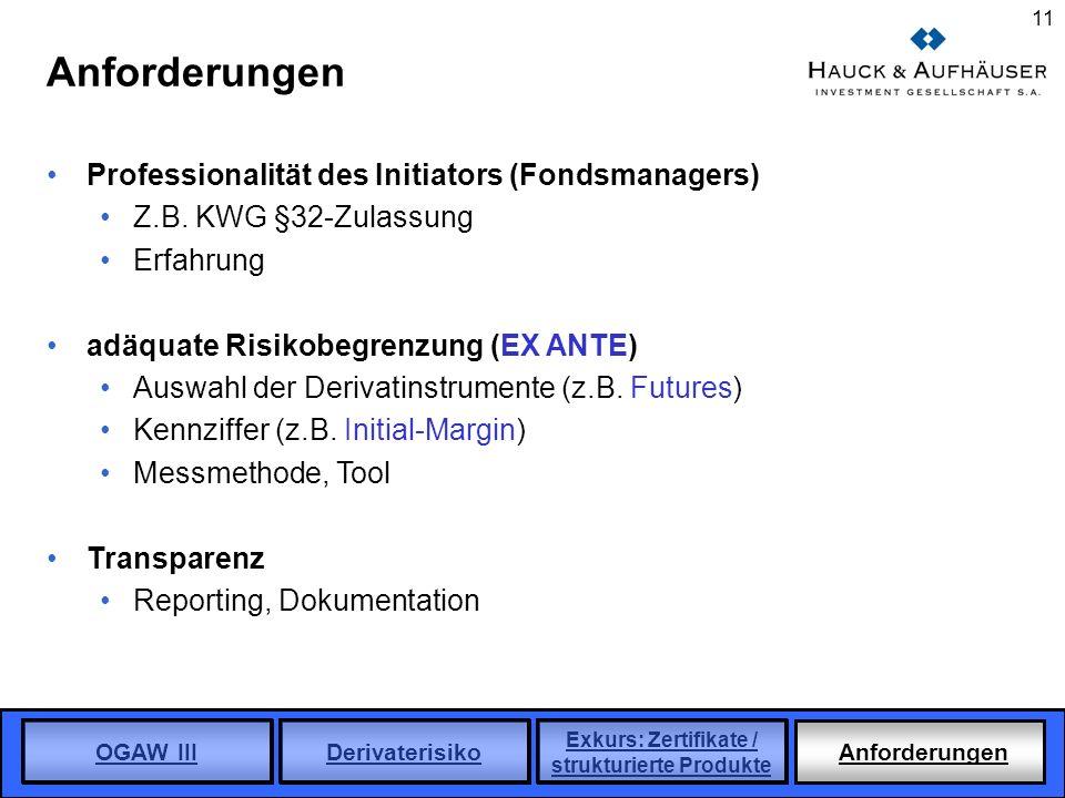 OGAW III Derivaterisiko Exkurs: Zertifikate / strukturierte Produkte Anforderungen 11 Anforderungen Professionalität des Initiators (Fondsmanagers) Z.