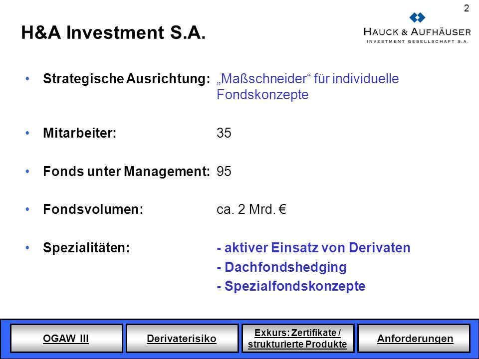 OGAW III Derivaterisiko Exkurs: Zertifikate / strukturierte Produkte Anforderungen 2 H&A Investment S.A. Strategische Ausrichtung: Maßschneider für in