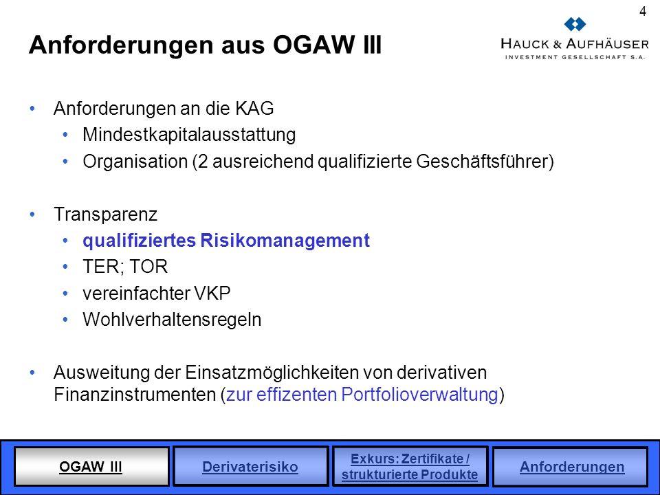 OGAW III Derivaterisiko Exkurs: Zertifikate / strukturierte Produkte Anforderungen 4 Anforderungen aus OGAW III Anforderungen an die KAG Mindestkapita