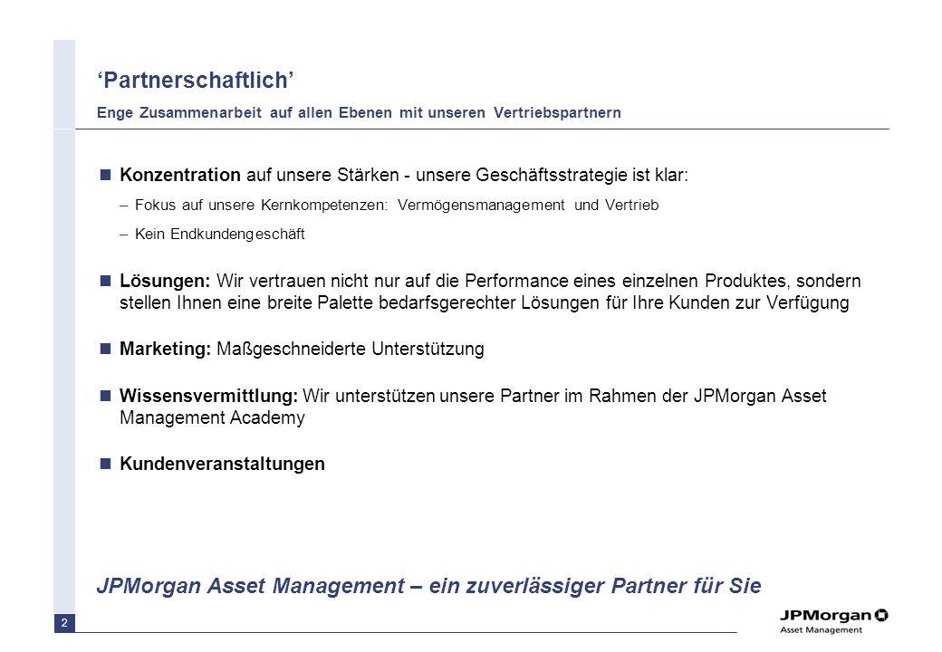 1 Relevante Themen in 2007 Partnerschaftlich Dynamisch Erfahren Vertriebsunterstützung Weiterer Ausbau der JPMorgan Asset Management Academy Konsequen