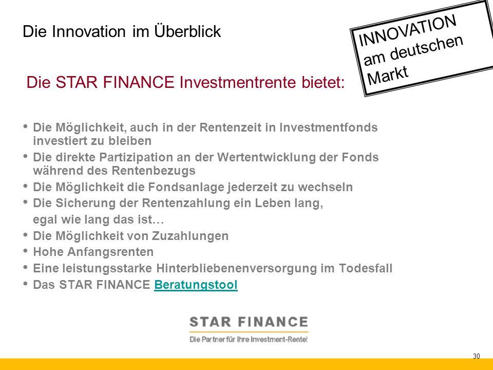 RENTE.invest 30 Die Innovation im Überblick Die Möglichkeit, auch in der Rentenzeit in Investmentfonds investiert zu bleiben Die direkte Partizipation