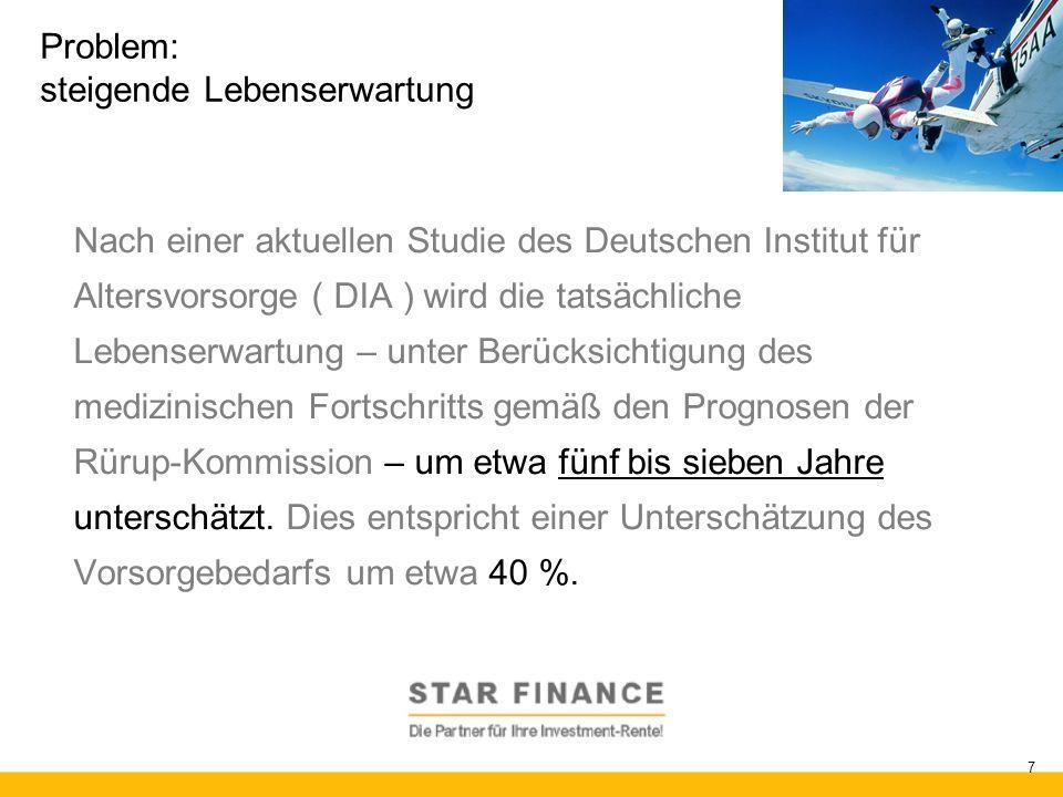 RENTE.invest 7 Problem: steigende Lebenserwartung Nach einer aktuellen Studie des Deutschen Institut für Altersvorsorge ( DIA ) wird die tatsächliche
