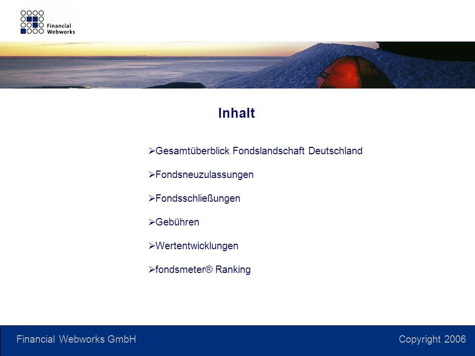 Financial Webworks GmbH Copyright 2006 Inhalt Gesamtüberblick Fondslandschaft Deutschland Fondsneuzulassungen Fondsschließungen Gebühren Wertentwicklungen fondsmeter® Ranking