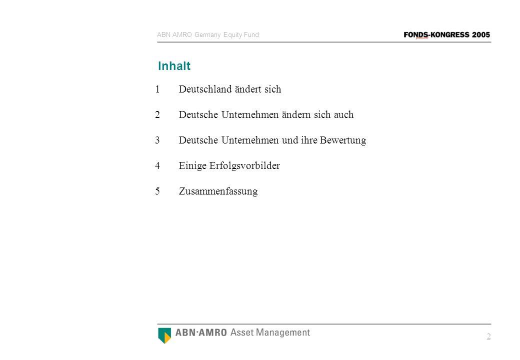 ABN AMRO Germany Equity Fund 2 Inhalt 1Deutschland ändert sich 2 Deutsche Unternehmen ändern sich auch 3 Deutsche Unternehmen und ihre Bewertung 4Eini