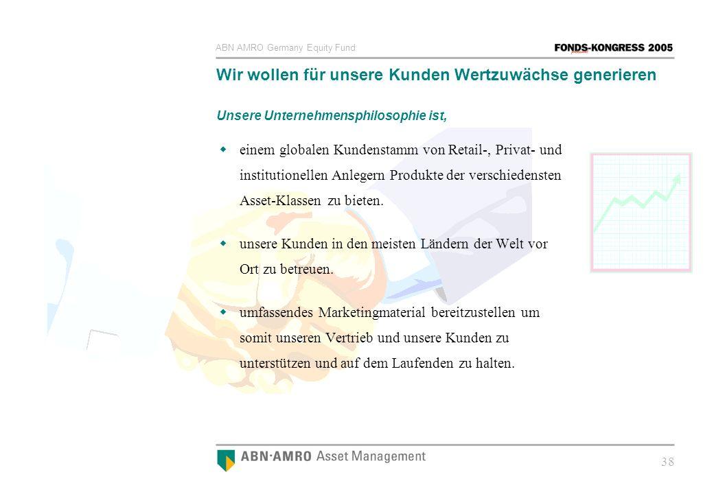 ABN AMRO Germany Equity Fund 38 Wir wollen für unsere Kunden Wertzuwächse generieren Unsere Unternehmensphilosophie ist, einem globalen Kundenstamm vo