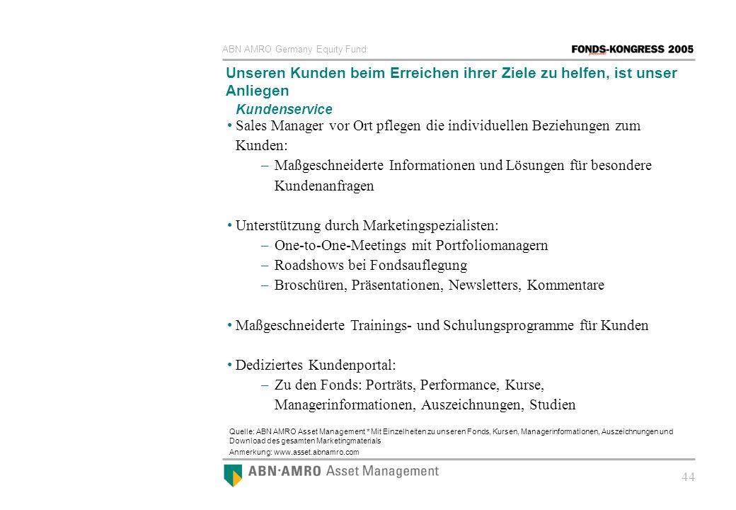 ABN AMRO Germany Equity Fund 44 Unseren Kunden beim Erreichen ihrer Ziele zu helfen, ist unser Anliegen Quelle: ABN AMRO Asset Management * Mit Einzel