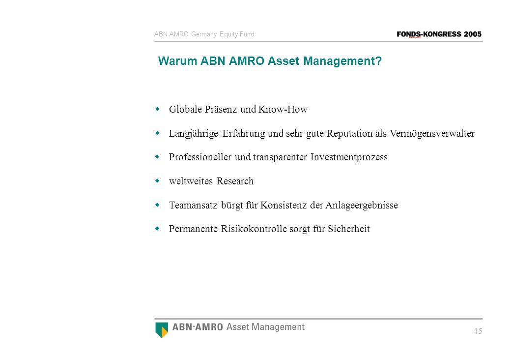 ABN AMRO Germany Equity Fund 45 Warum ABN AMRO Asset Management? Globale Präsenz und Know-How Langjährige Erfahrung und sehr gute Reputation als Vermö
