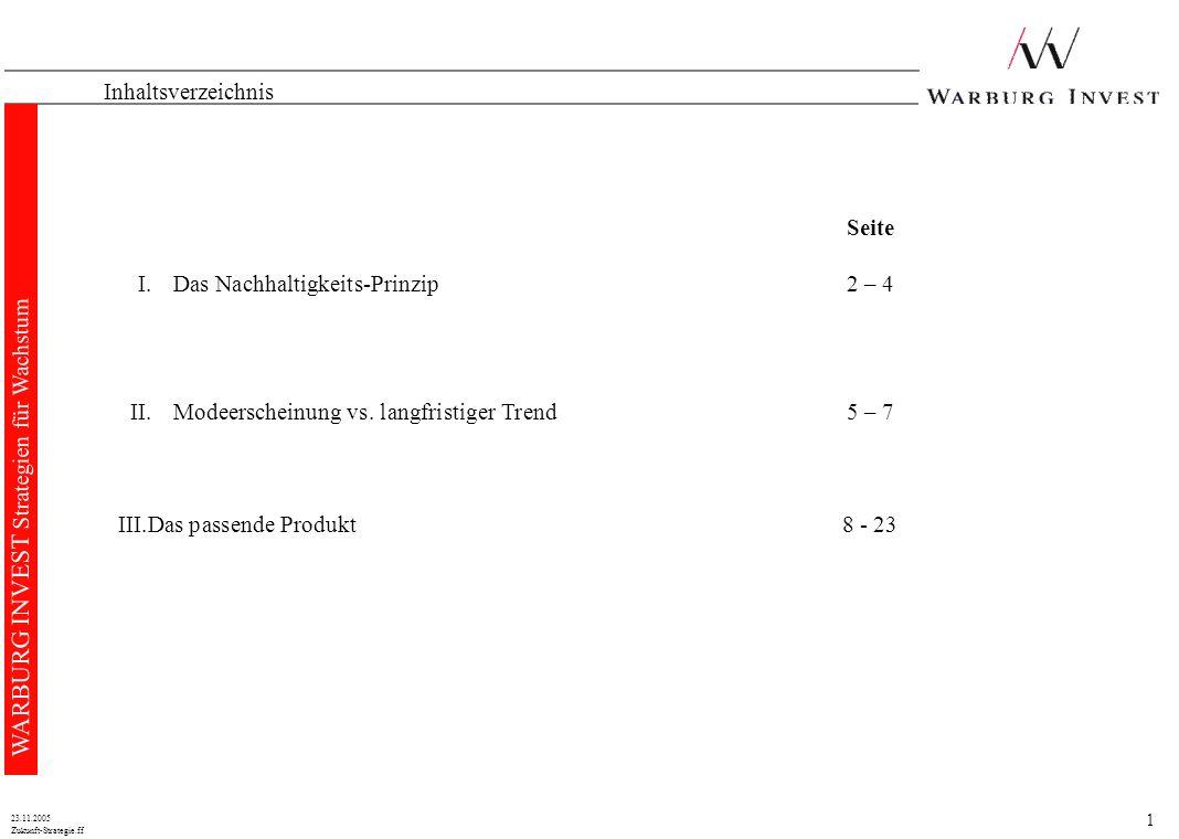 1 Zukunft-Strategie.ff 23.11.2005 WARBURG INVEST Strategien für Wachstum Inhaltsverzeichnis Seite I.