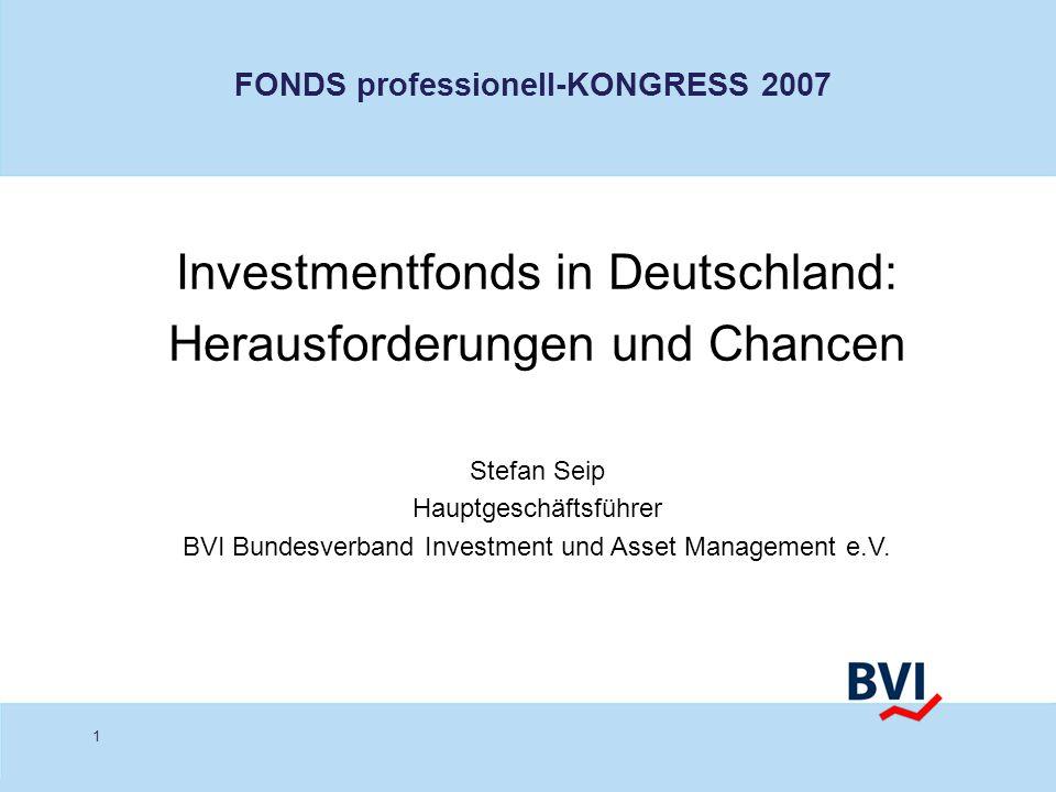 1 Investmentfonds in Deutschland: Herausforderungen und Chancen Stefan Seip Hauptgeschäftsführer BVI Bundesverband Investment und Asset Management e.V