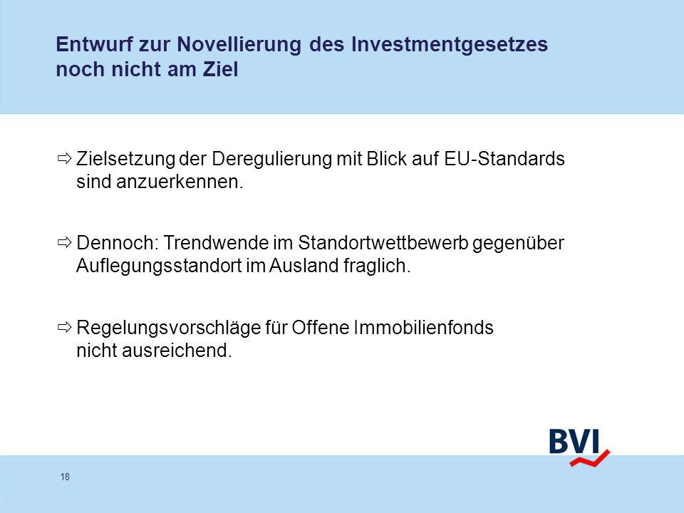 18 Entwurf zur Novellierung des Investmentgesetzes noch nicht am Ziel Zielsetzung der Deregulierung mit Blick auf EU-Standards sind anzuerkennen. Denn
