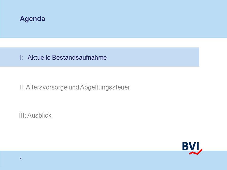 2 I: Aktuelle Bestandsaufnahme Agenda II: Altersvorsorge und Abgeltungssteuer III: Ausblick