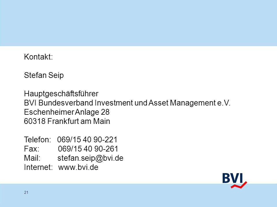 21 Kontakt: Stefan Seip Hauptgeschäftsführer BVI Bundesverband Investment und Asset Management e.V. Eschenheimer Anlage 28 60318 Frankfurt am Main Tel