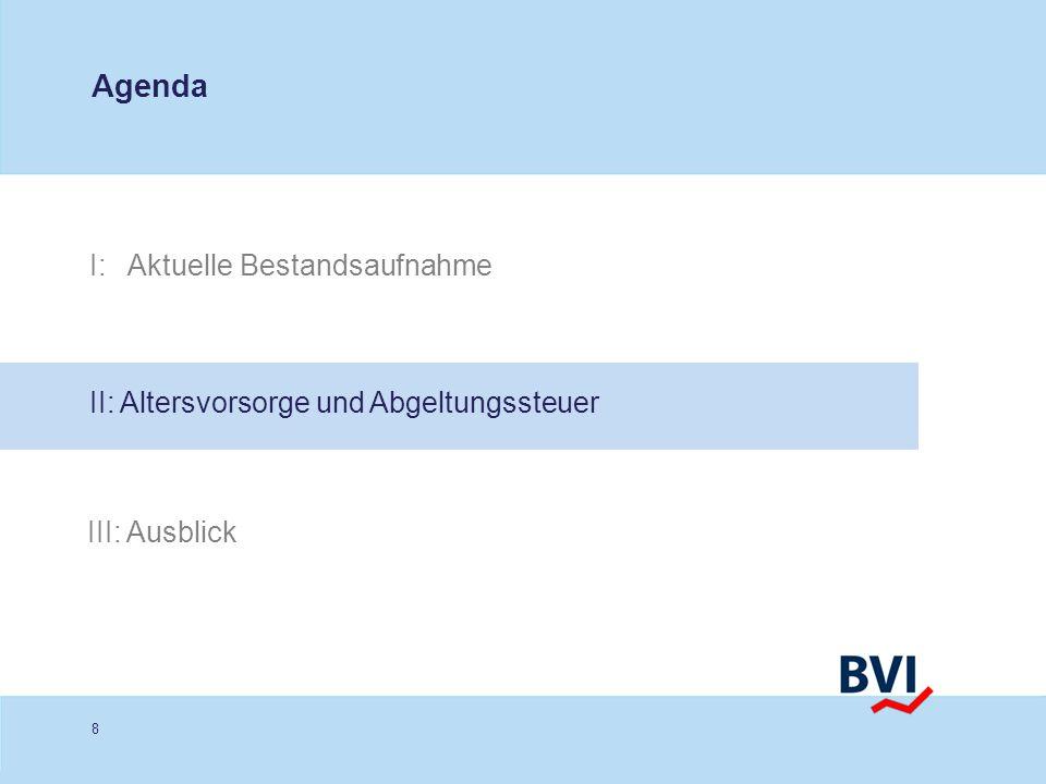 8 I: Aktuelle Bestandsaufnahme Agenda II: Altersvorsorge und Abgeltungssteuer III: Ausblick
