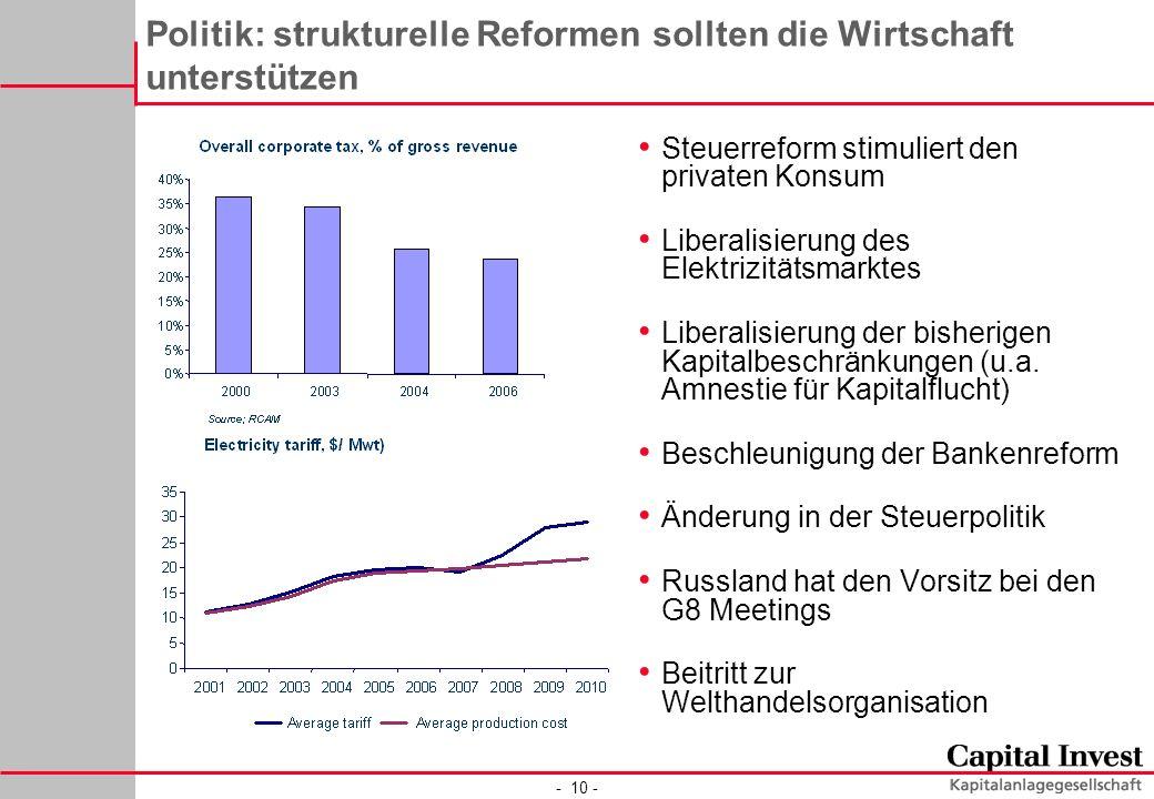 - 10 - Politik: strukturelle Reformen sollten die Wirtschaft unterstützen Steuerreform stimuliert den privaten Konsum Liberalisierung des Elektrizität