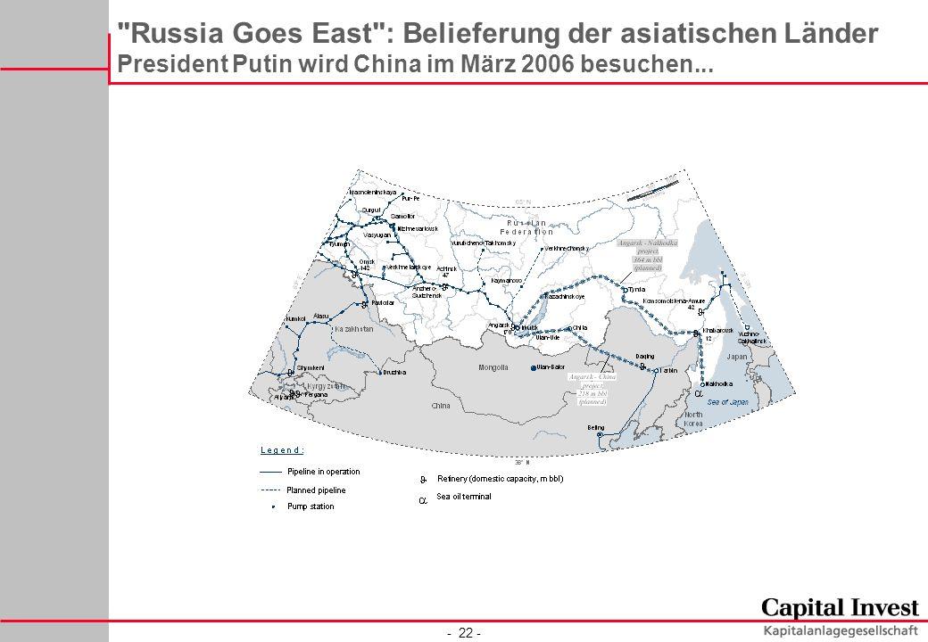 - 22 - Russia Goes East : Belieferung der asiatischen Länder President Putin wird China im März 2006 besuchen...