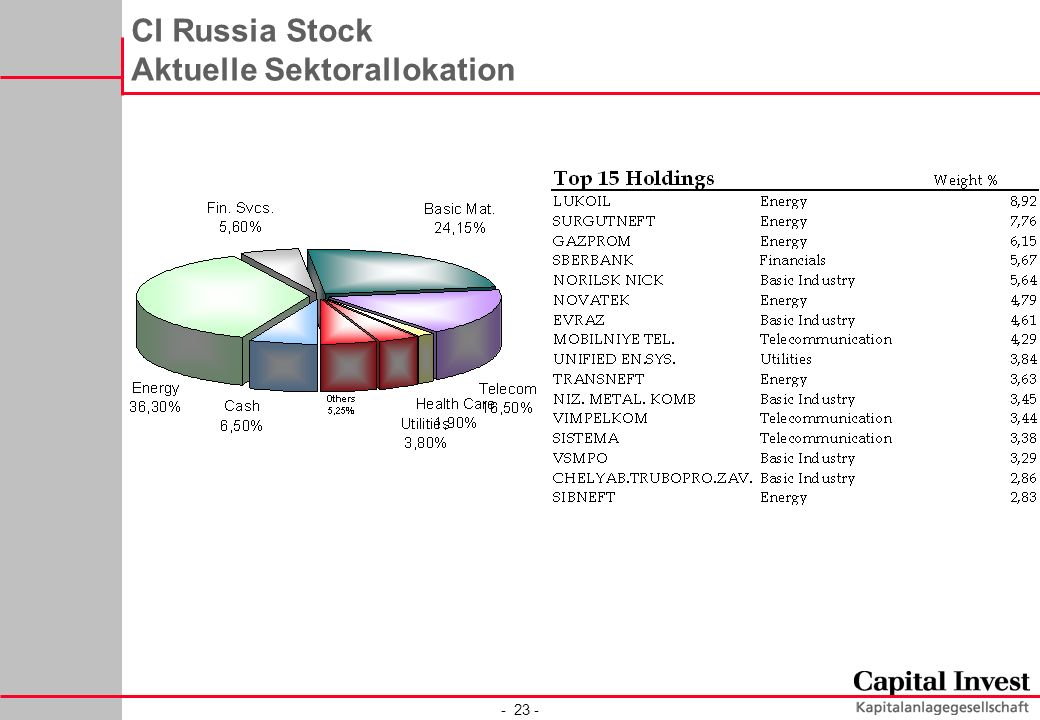 - 23 - CI Russia Stock Aktuelle Sektorallokation