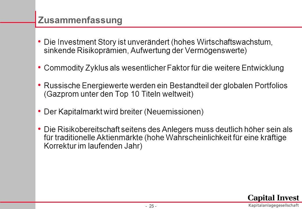 - 25 - Zusammenfassung Die Investment Story ist unverändert (hohes Wirtschaftswachstum, sinkende Risikoprämien, Aufwertung der Vermögenswerte) Commodi