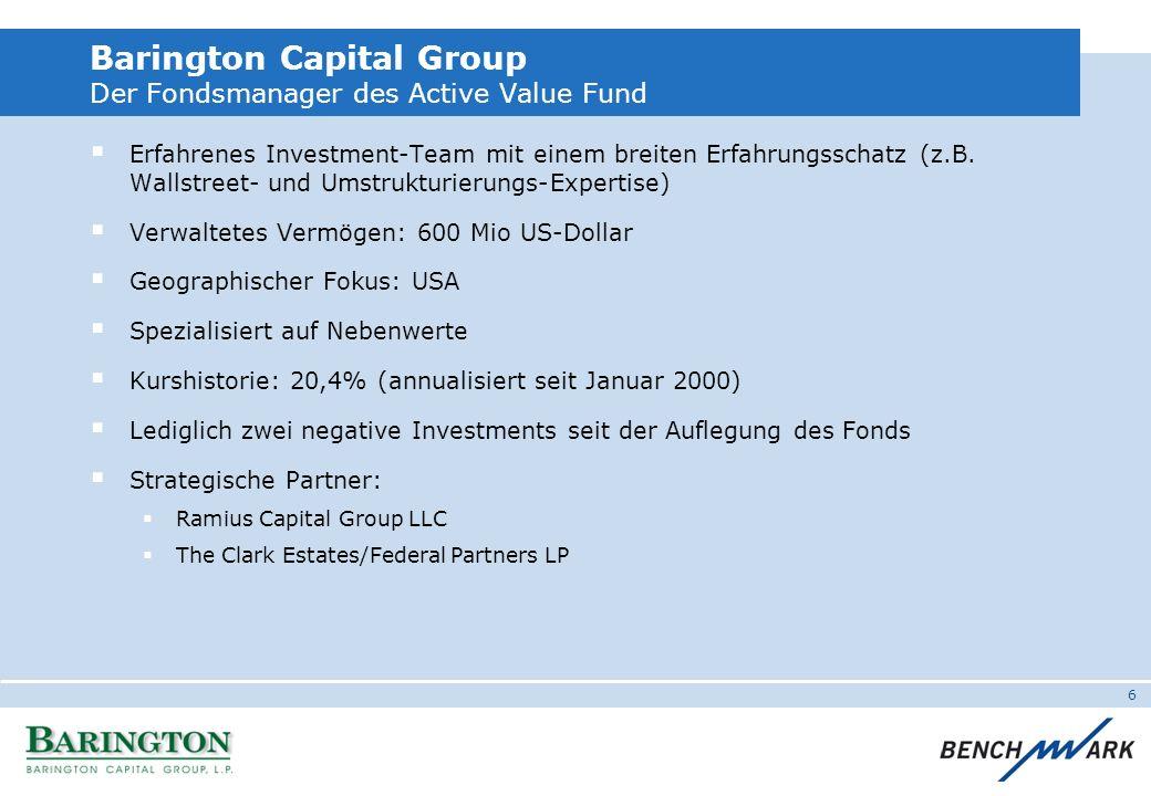 6 Barington Capital Group Der Fondsmanager des Active Value Fund Erfahrenes Investment-Team mit einem breiten Erfahrungsschatz (z.B. Wallstreet- und U