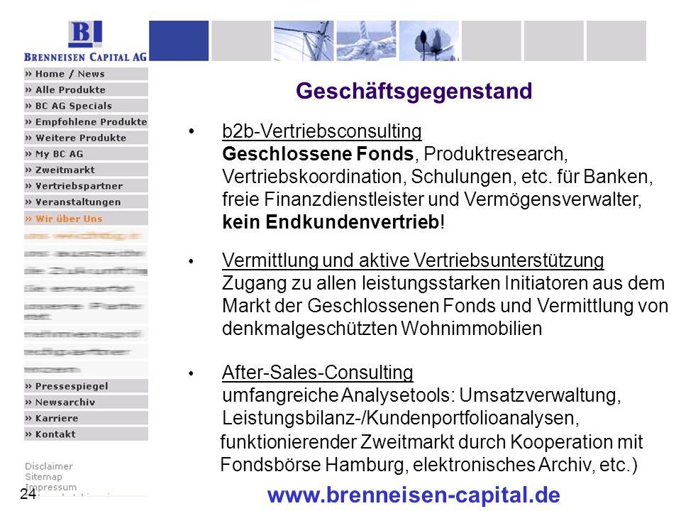 www.brenneisen-capital.de b2b-Vertriebsconsulting Geschlossene Fonds, Produktresearch, Vertriebskoordination, Schulungen, etc. für Banken, freie Finan