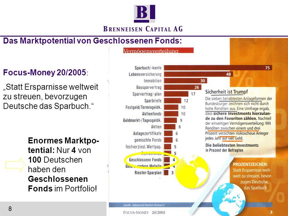 Focus-Money 20/2005 : Statt Ersparnisse weltweit zu streuen, bevorzugen Deutsche das Sparbuch. Enormes Marktpo- tential: Nur 4 von 100 Deutschen haben