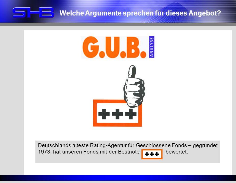 Welche Argumente sprechen für dieses Angebot? Deutschlands älteste Rating-Agentur für Geschlossene Fonds – gegründet 1973, hat unseren Fonds mit der B