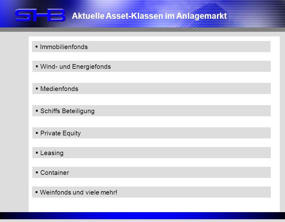 Aktuelle Asset-Klassen im Anlagemarkt Wind- und Energiefonds Medienfonds Schiffs Beteiligung Weinfonds und viele mehr! Private Equity Immobilienfonds
