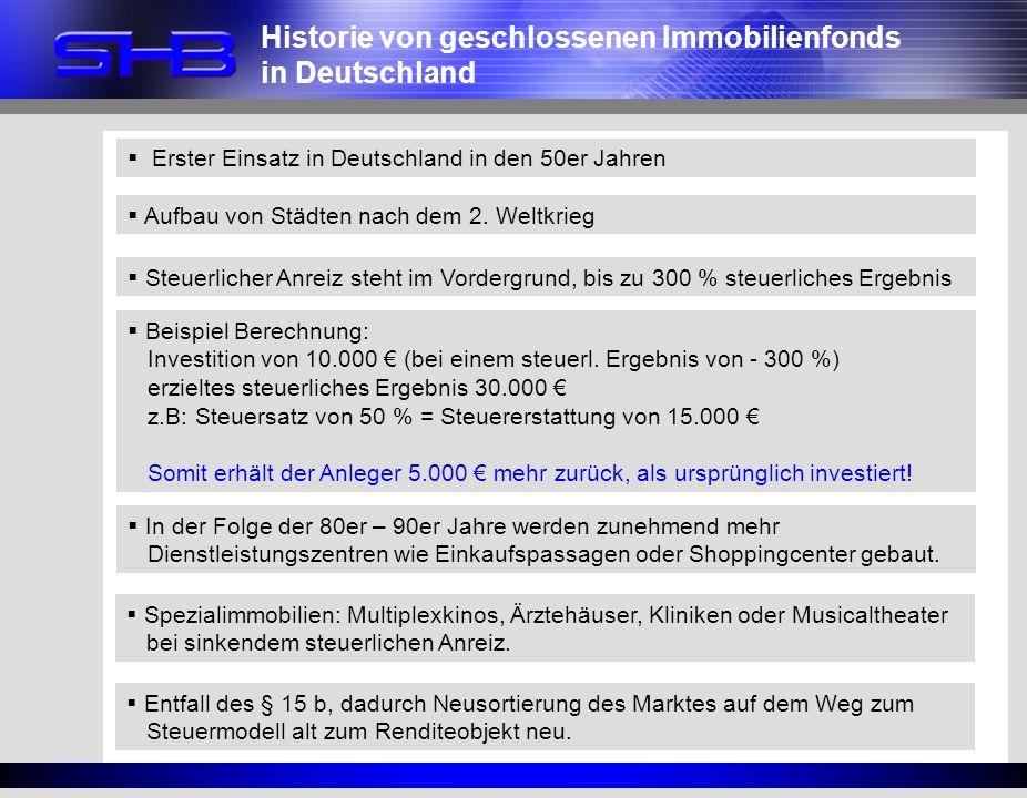Erster Einsatz in Deutschland in den 50er Jahren Aufbau von Städten nach dem 2. Weltkrieg Steuerlicher Anreiz steht im Vordergrund, bis zu 300 % steue