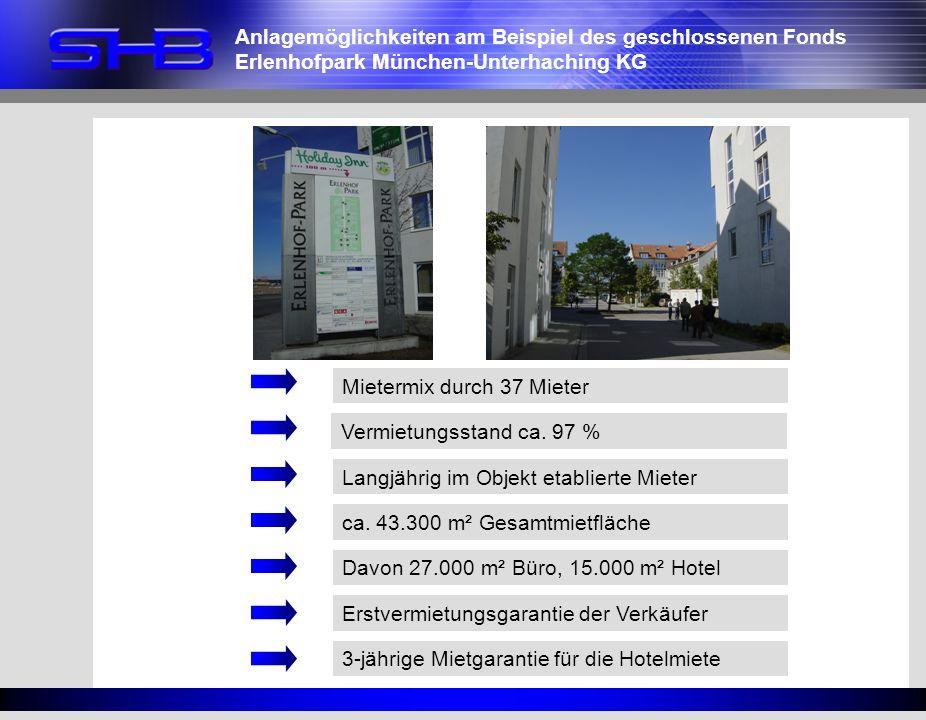 Mietermix durch 37 Mieter Langjährig im Objekt etablierte Mieter ca. 43.300 m² Gesamtmietfläche Erstvermietungsgarantie der Verkäufer 3-jährige Mietga