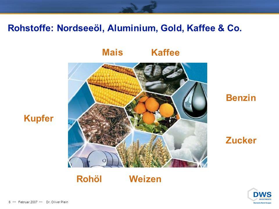 Februar.2007Dr.Oliver Plein6 Rohstoffe: Nordseeöl, Aluminium, Gold, Kaffee & Co.