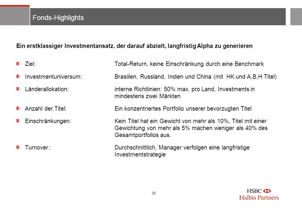 35 Fonds-Highlights Ziel:Total-Return, keine Einschränkung durch eine Benchmark Investmentuniversum:Brasilien, Russland, Indien und China (mit HK und