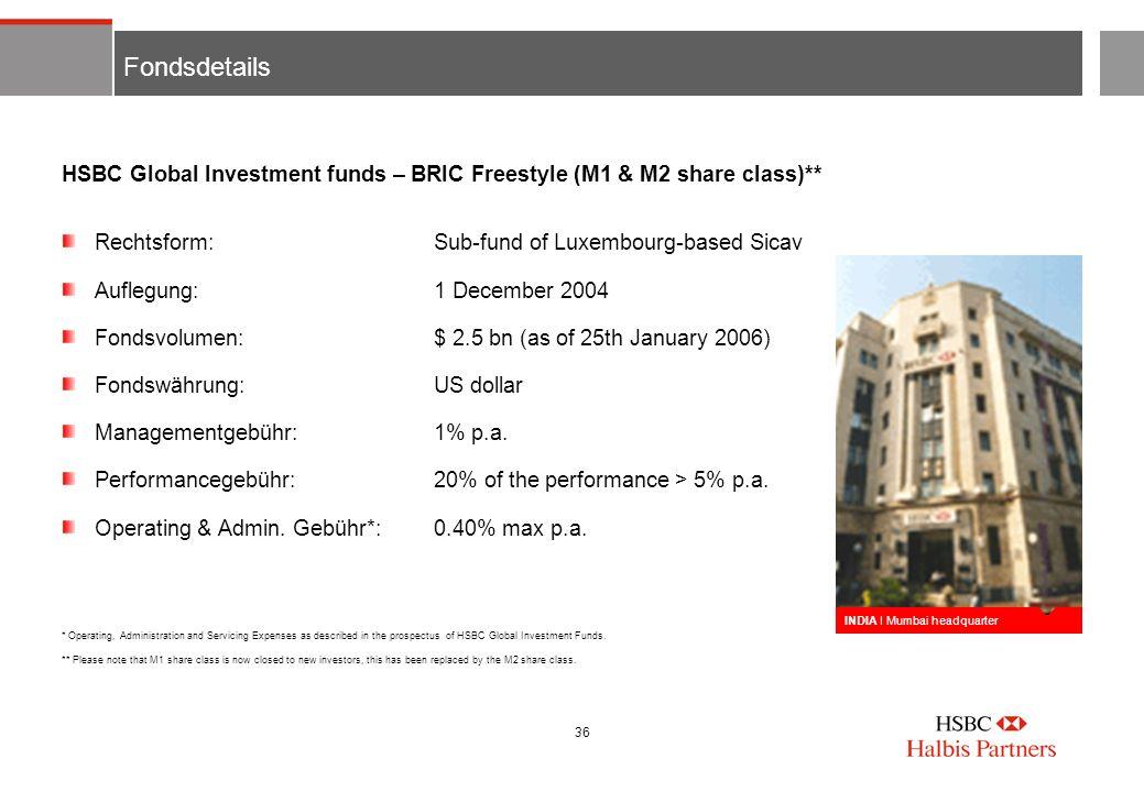 36 Fondsdetails Rechtsform:Sub-fund of Luxembourg-based Sicav Auflegung:1 December 2004 Fondsvolumen:$ 2.5 bn (as of 25th January 2006) Fondswährung:U