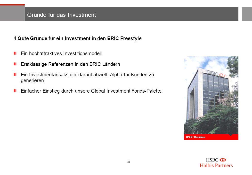38 Gründe für das Investment Ein hochattraktives Investitionsmodell Erstklassige Referenzen in den BRIC Ländern Ein Investmentansatz, der darauf abzie