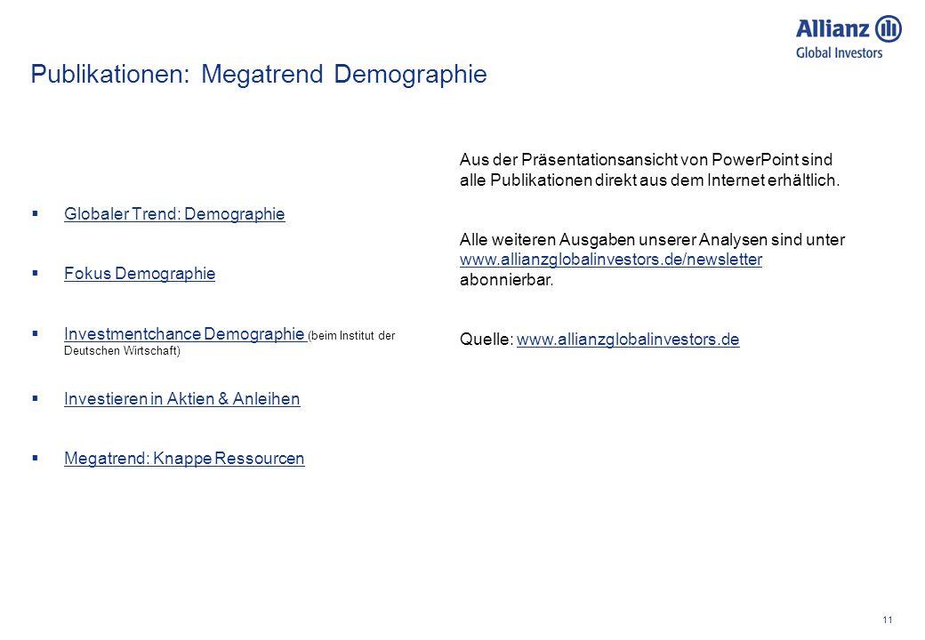 11 Publikationen: Megatrend Demographie Globaler Trend: Demographie Fokus Demographie Investmentchance Demographie (beim Institut der Deutschen Wirtsc