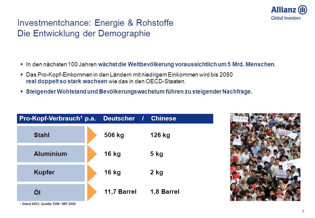 8 Pro-Kopf-Verbrauch 1 p.a. Deutscher / Chinese Investmentchance: Energie & Rohstoffe Die Entwicklung der Demographie In den nächsten 100 Jahren wächs