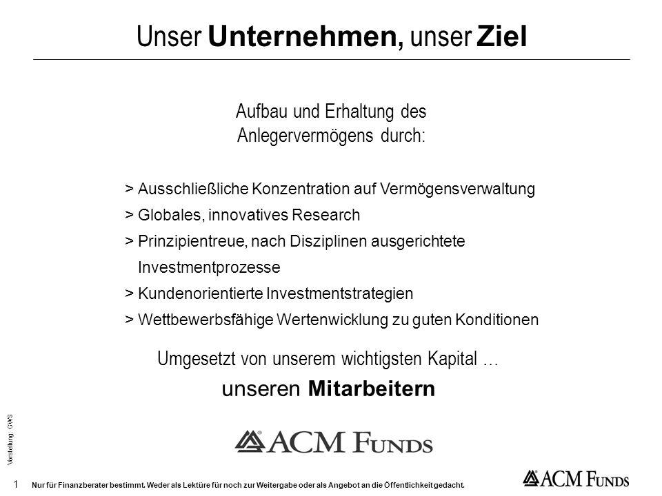 Growth is coming home – Das Comeback der Wachstumswerte Hauke Höfer Vice President ACM International Nur für Finanzberater bestimmt. Weder als Lektüre