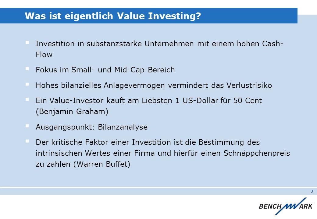 3 Was ist eigentlich Value Investing? Investition in substanzstarke Unternehmen mit einem hohen Cash- Flow Fokus im Small- und Mid-Cap-Bereich Hohes b