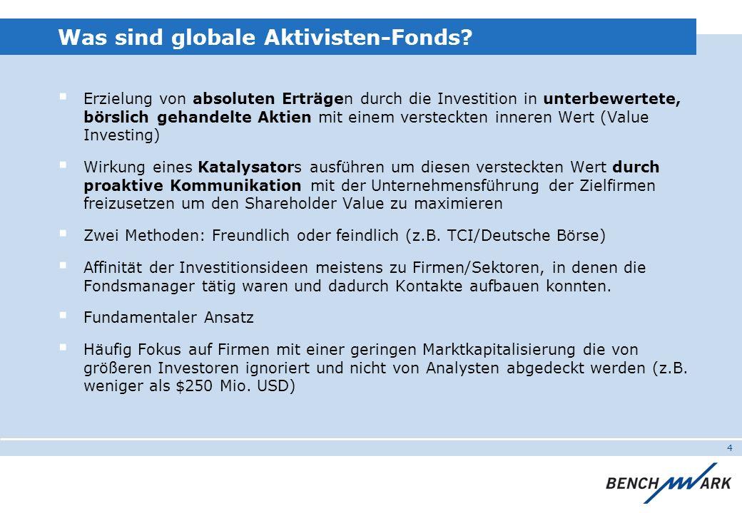 4 Was sind globale Aktivisten-Fonds? Erzielung von absoluten Erträgen durch die Investition in unterbewertete, börslich gehandelte Aktien mit einem ve