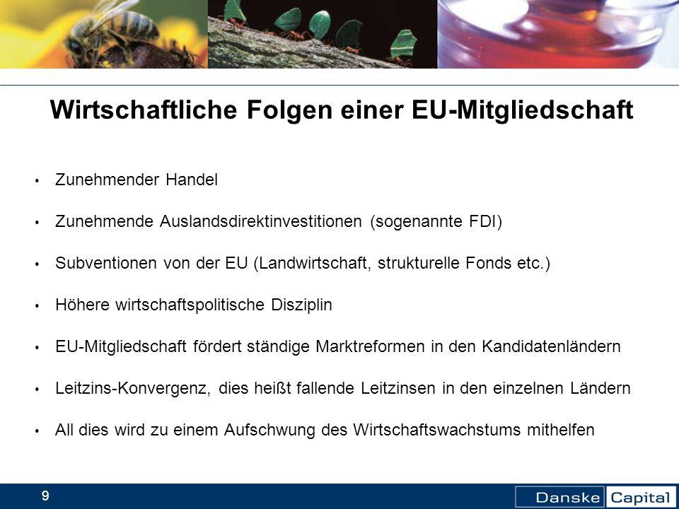 9 Wirtschaftliche Folgen einer EU-Mitgliedschaft Zunehmender Handel Zunehmende Auslandsdirektinvestitionen (sogenannte FDI) Subventionen von der EU (L