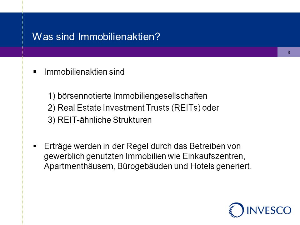 9 Was sind REITs.REITs = Real Estate Investment Trusts REITs wurden 1960 in den USA eingeführt.