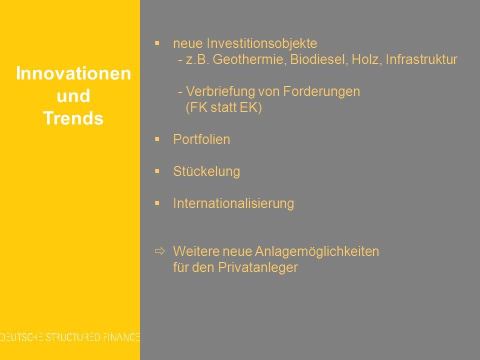Innovationen und Trends neue Investitionsobjekte - z.B. Geothermie, Biodiesel, Holz, Infrastruktur - Verbriefung von Forderungen (FK statt EK) Portfol