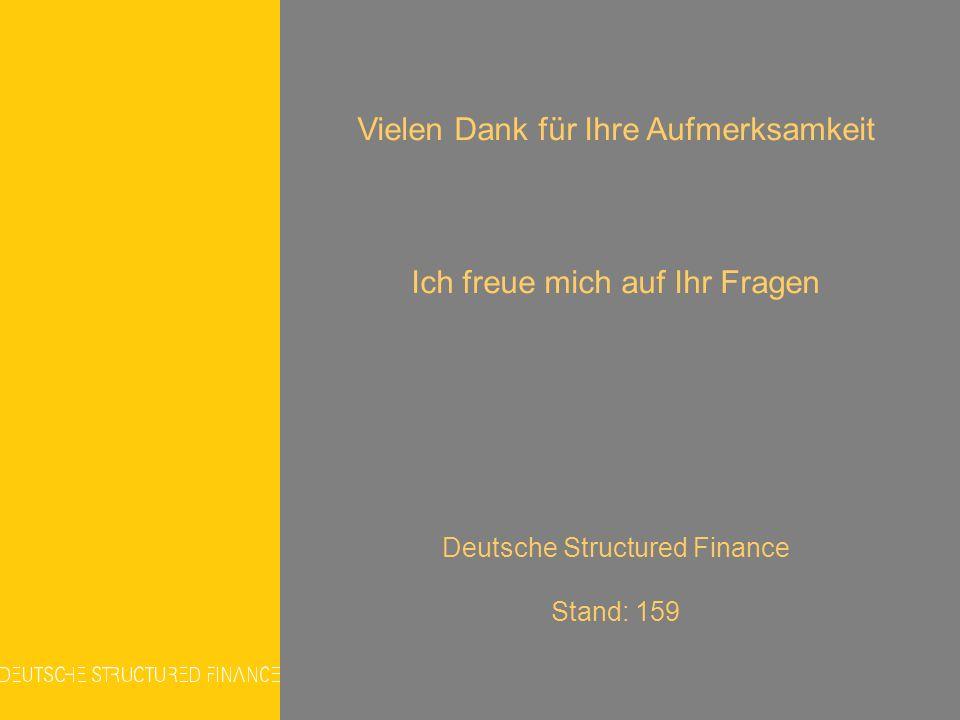 Vielen Dank für Ihre Aufmerksamkeit Ich freue mich auf Ihr Fragen Deutsche Structured Finance Stand: 159