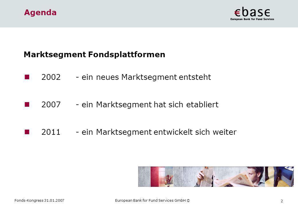 Fonds-Kongress 31.01.2007European Bank for Fund Services GmbH © 2 Agenda 2002- ein neues Marktsegment entsteht 2007- ein Marktsegment hat sich etablie
