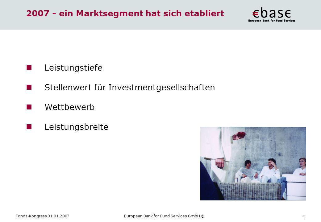 Fonds-Kongress 31.01.2007European Bank for Fund Services GmbH © 4 2007 - ein Marktsegment hat sich etabliert Leistungstiefe Stellenwert für Investment