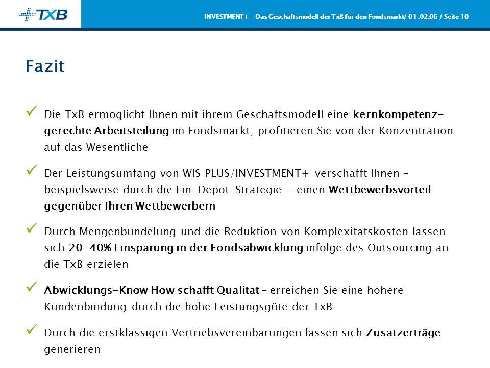 / 01.02.06 / Seite 10 INVESTMENT+ - Das Geschäftsmodell der TxB für den Fondsmarkt Fazit Die TxB ermöglicht Ihnen mit ihrem Geschäftsmodell eine kernk