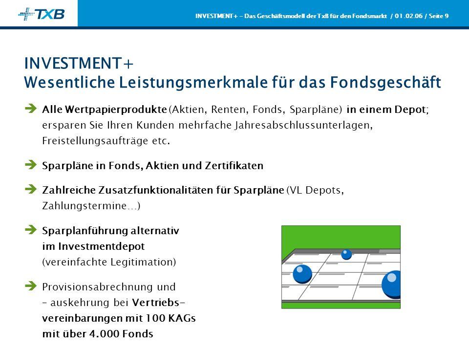 / 01.02.06 / Seite 10 INVESTMENT+ - Das Geschäftsmodell der TxB für den Fondsmarkt Fazit Die TxB ermöglicht Ihnen mit ihrem Geschäftsmodell eine kernkompetenz- gerechte Arbeitsteilung im Fondsmarkt; profitieren Sie von der Konzentration auf das Wesentliche Der Leistungsumfang von WIS PLUS/INVESTMENT+ verschafft Ihnen – beispielsweise durch die Ein-Depot-Strategie - einen Wettbewerbsvorteil gegenüber Ihren Wettbewerbern Durch Mengenbündelung und die Reduktion von Komplexitätskosten lassen sich 20-40% Einsparung in der Fondsabwicklung infolge des Outsourcing an die TxB erzielen Abwicklungs-Know How schafft Qualität – erreichen Sie eine höhere Kundenbindung durch die hohe Leistungsgüte der TxB Durch die erstklassigen Vertriebsvereinbarungen lassen sich Zusatzerträge generieren
