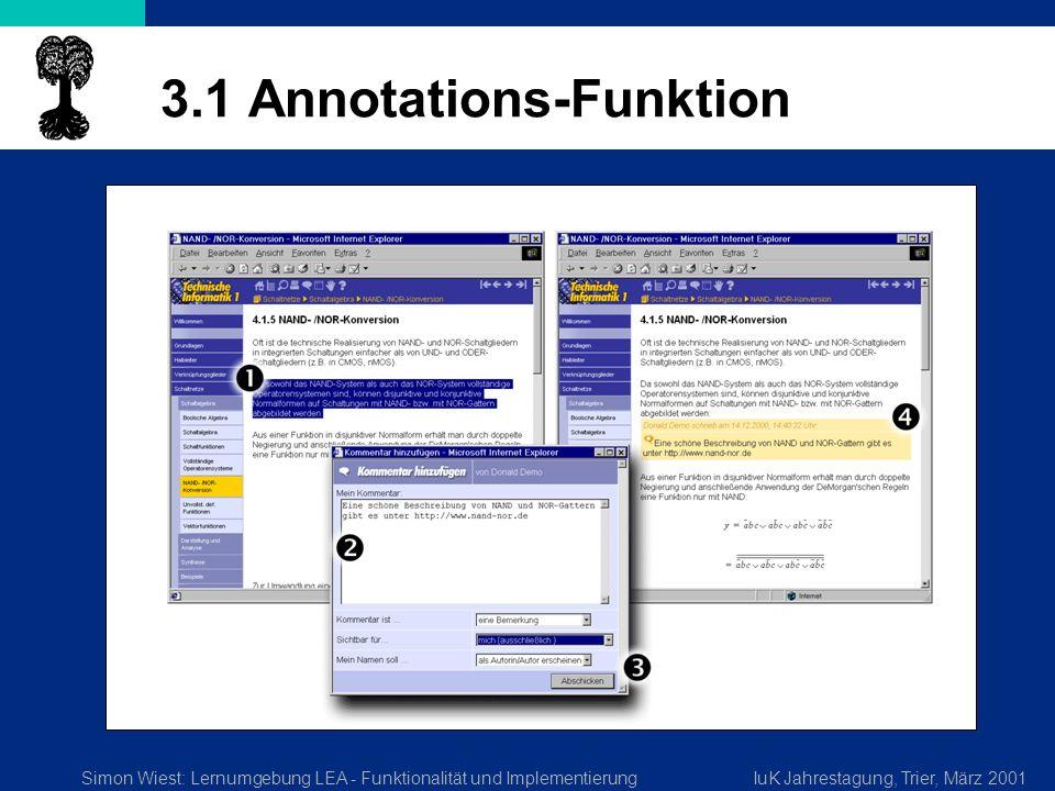 Simon Wiest: Lernumgebung LEA - Funktionalität und ImplementierungIuK Jahrestagung, Trier, März 2001 3.1 Annotations-Funktion