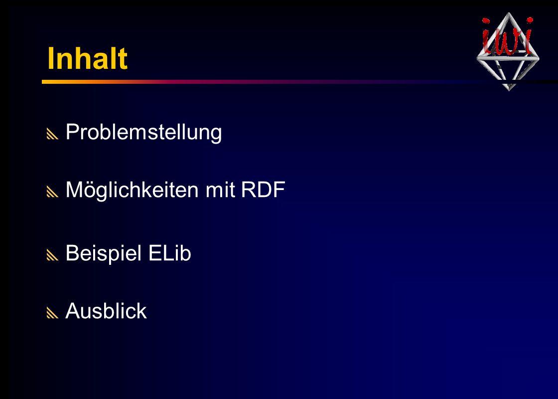 Inhalt Problemstellung Möglichkeiten mit RDF Beispiel ELib Ausblick