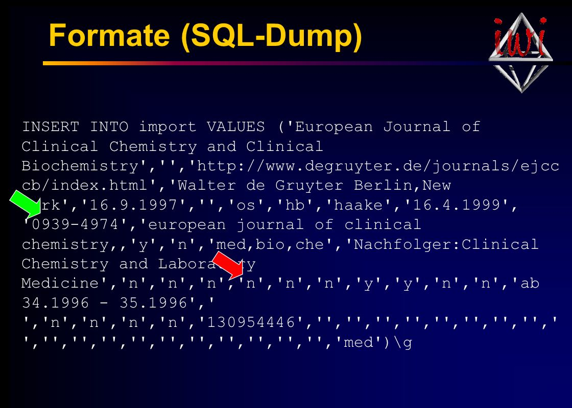 Formate (SQL-Dump) INSERT INTO import VALUES ('European Journal of Clinical Chemistry and Clinical Biochemistry','','http://www.degruyter.de/journals/
