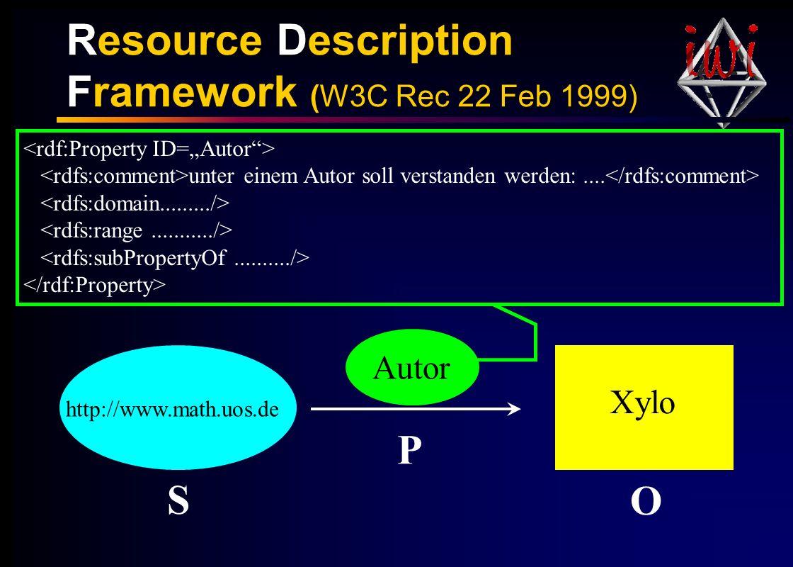 Resource Description Framework (W3C Rec 22 Feb 1999) Autor http://www.math.uos.de Xylo S P O unter einem Autor soll verstanden werden:....