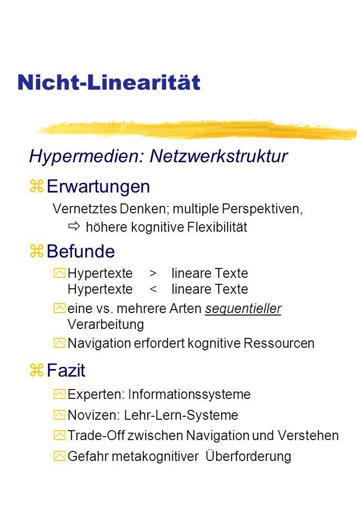 Nicht-Linearität Hypermedien: Netzwerkstruktur zErwartungen Vernetztes Denken; multiple Perspektiven, höhere kognitive Flexibilität zBefunde yHypertexte > lineare Texte Hypertexte < lineare Texte yeine vs.